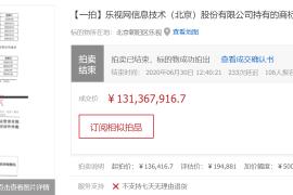 乐视网旗下1354件商标最终以一亿三千万的价格结拍
